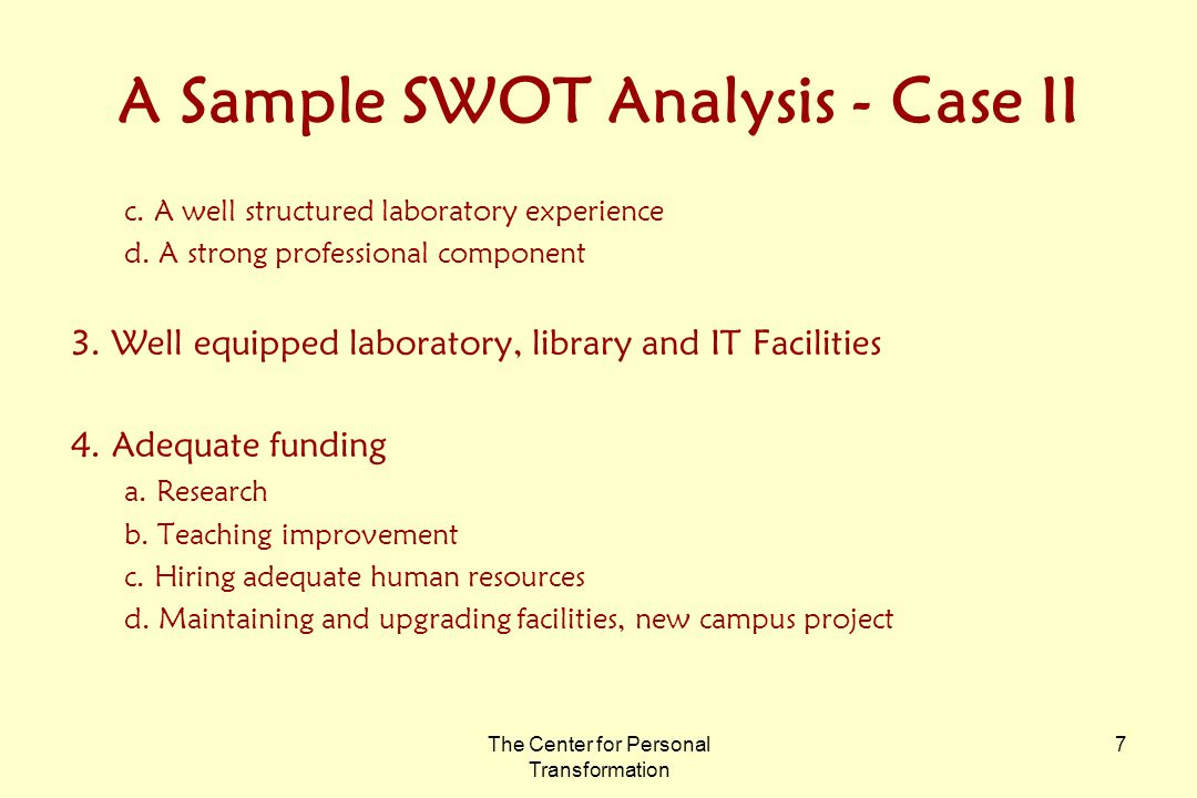 The Center for Personal Transformation 7 A Sample SWOT Analysis - Case II c.