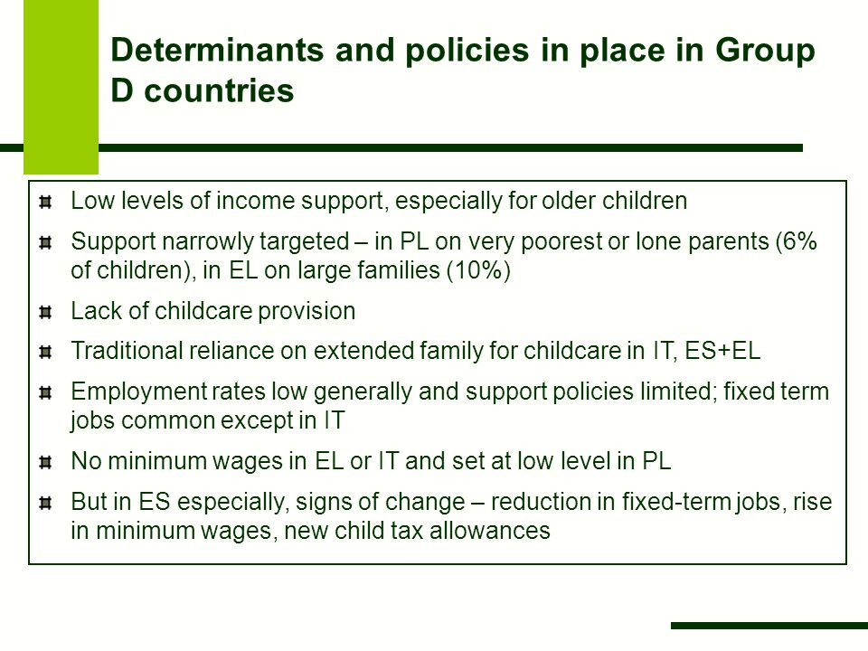 Determinants and policies in place in Group D countries Low levels of income support, especially for older children Support narrowly targeted – in PL