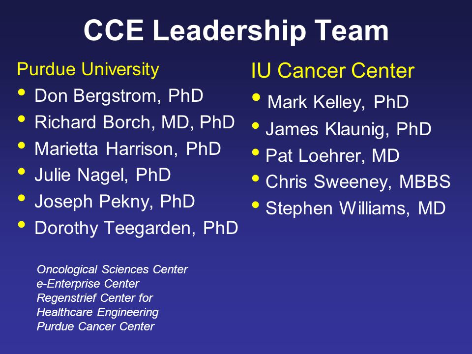 CCE Leadership Team Purdue University Don Bergstrom, PhD Richard Borch, MD, PhD Marietta Harrison, PhD Julie Nagel, PhD Joseph Pekny, PhD Dorothy Teegarden, PhD IU Cancer Center Mark Kelley, PhD James Klaunig, PhD Pat Loehrer, MD Chris Sweeney, MBBS Stephen Williams, MD Oncological Sciences Center e-Enterprise Center Regenstrief Center for Healthcare Engineering Purdue Cancer Center