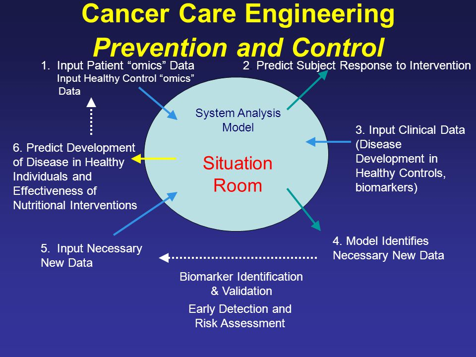 System Analysis Model 3. Input Clinical Data (Disease Development in Healthy Controls, biomarkers) 4. Model Identifies Necessary New Data 5. Input Nec