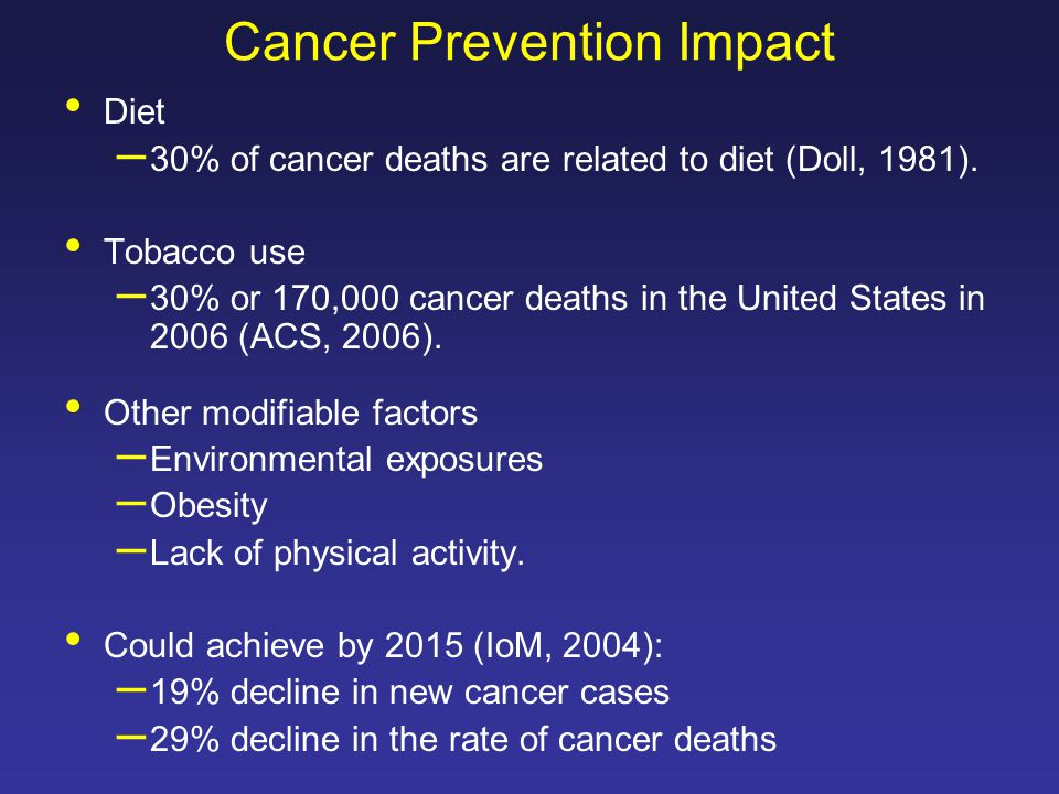 Cancer Prevention Impact Diet – 30% of cancer deaths are related to diet (Doll, 1981).