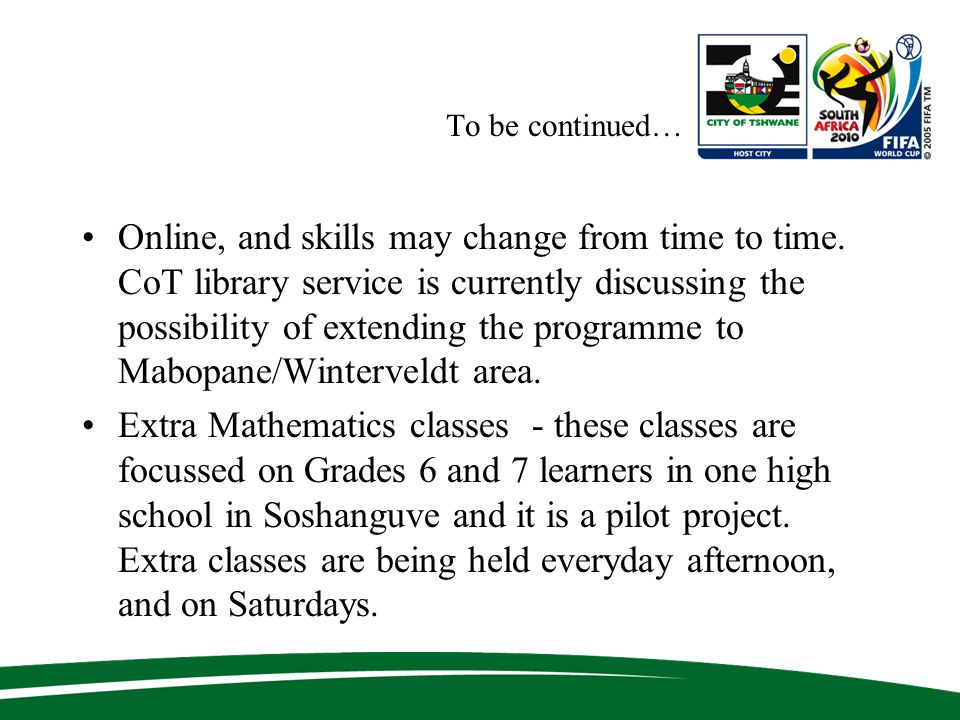 To be continued… Online, and skills may change from time to time.