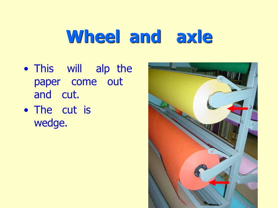 Wheel and axle This will alp the paper come out and cut. The cut is wedge.