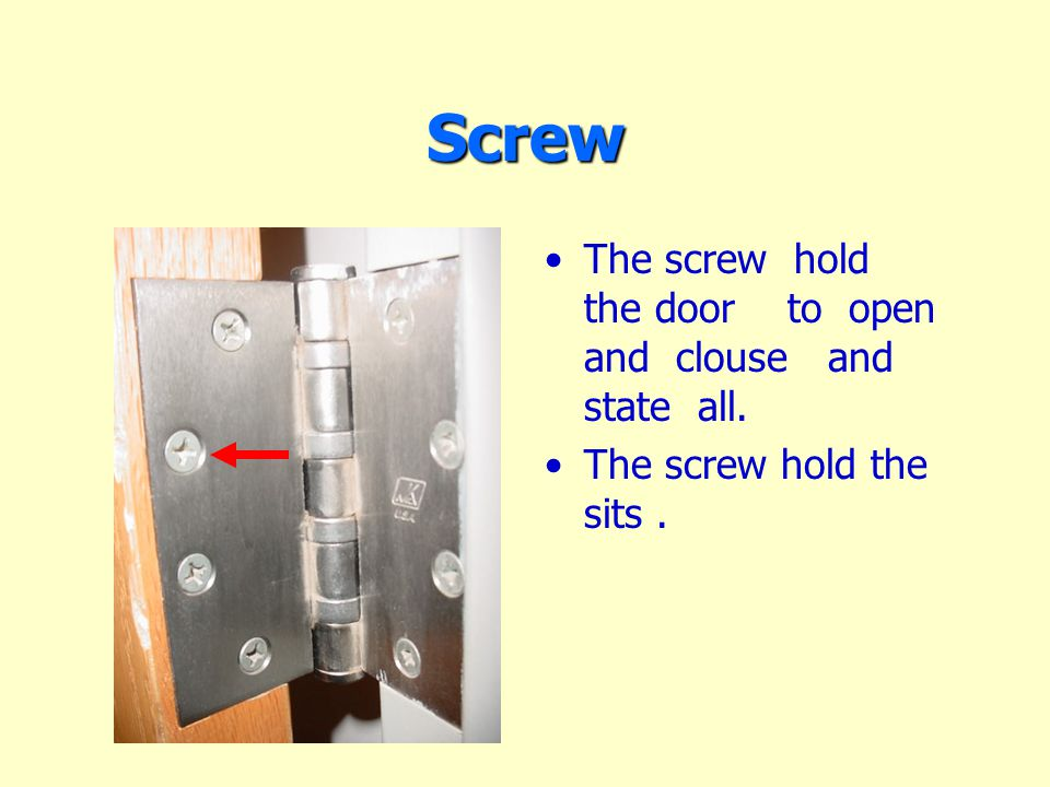 Screw The screw hold the door to open and clouse and state all. The screw hold the sits.