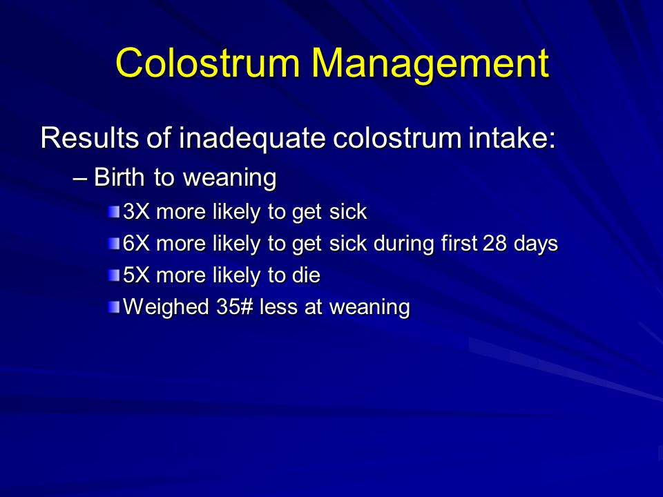 Colostrum Management Results of inadequate colostrum intake: –Birth to weaning 3X more likely to get sick 6X more likely to get sick during first 28 days 5X more likely to die Weighed 35# less at weaning