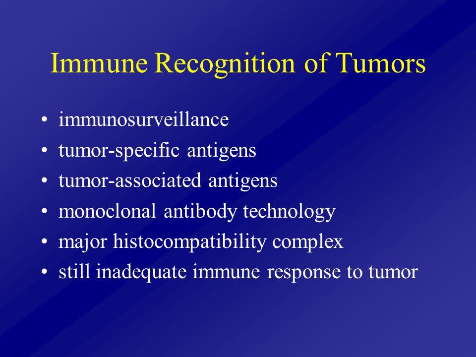 Immune Recognition of Tumors immunosurveillance tumor-specific antigens tumor-associated antigens monoclonal antibody technology major histocompatibility complex still inadequate immune response to tumor