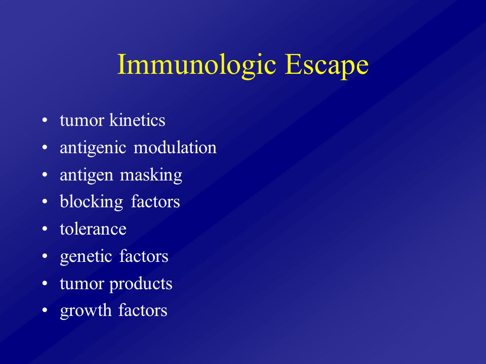 Immunologic Escape tumor kinetics antigenic modulation antigen masking blocking factors tolerance genetic factors tumor products growth factors