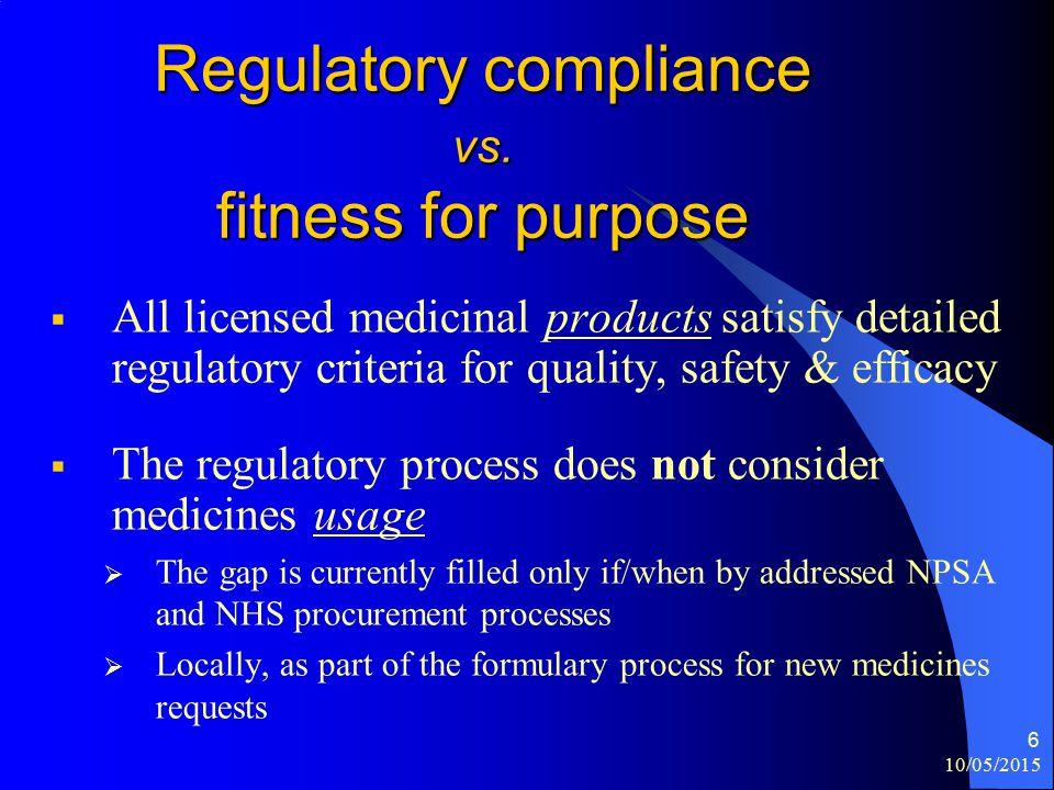 10/05/2015 6 Regulatory compliance vs.