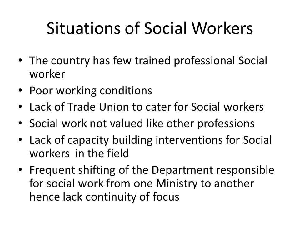 The Institute Of Social Work Established in 1974 by an Act No.2 of 1973 charged with three major functions including Training of Social workers, Research on Social work and Consultancies on matters regarding social issues It provided Three year Advanced Diploma in Social work