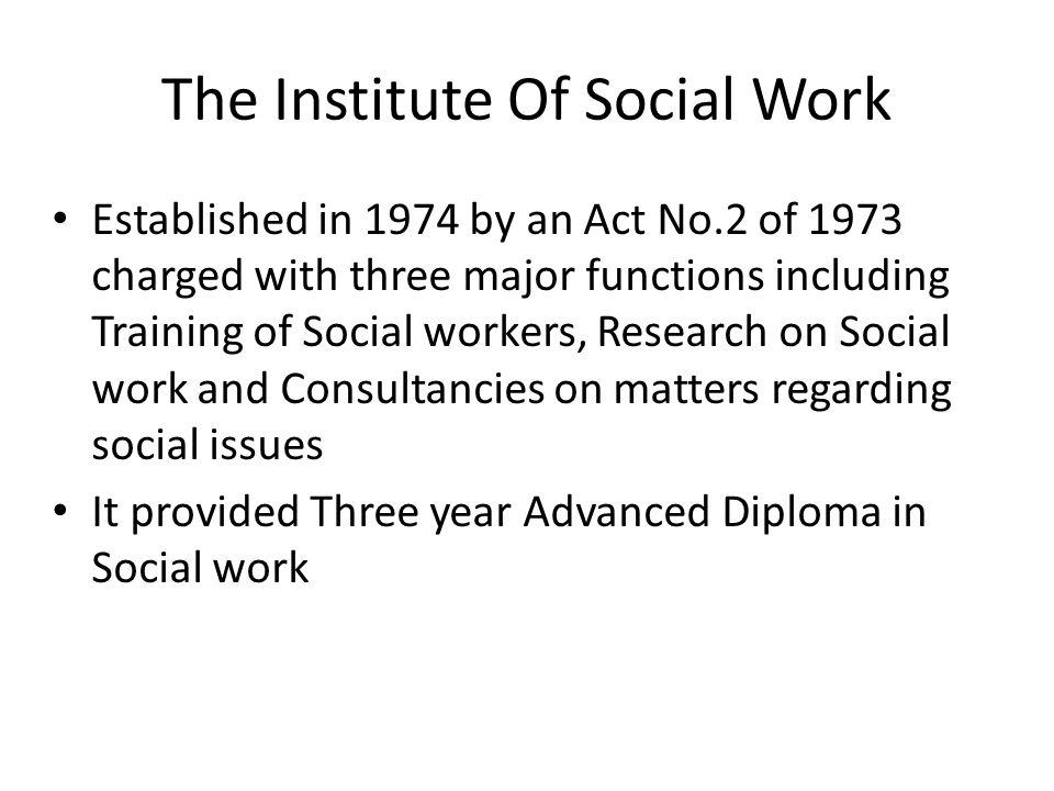 Institute of Social Work cont....