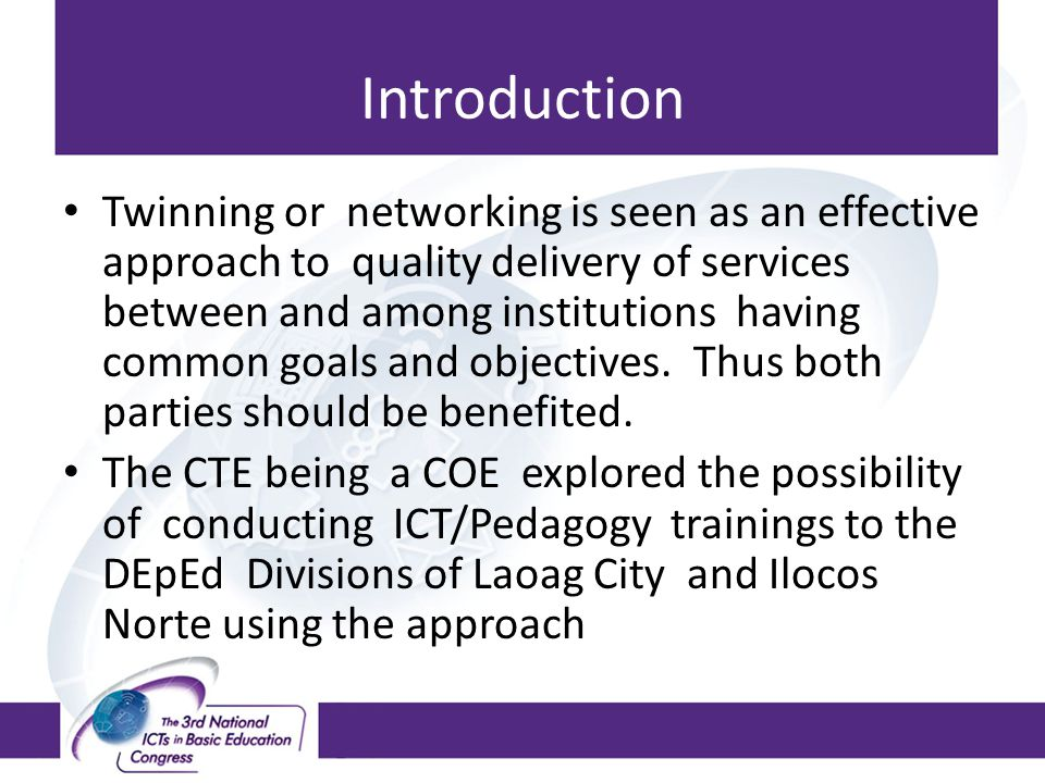The Research Questions What ICT/Pedagogy training were conducted by CTE in cooperation with DepEd.
