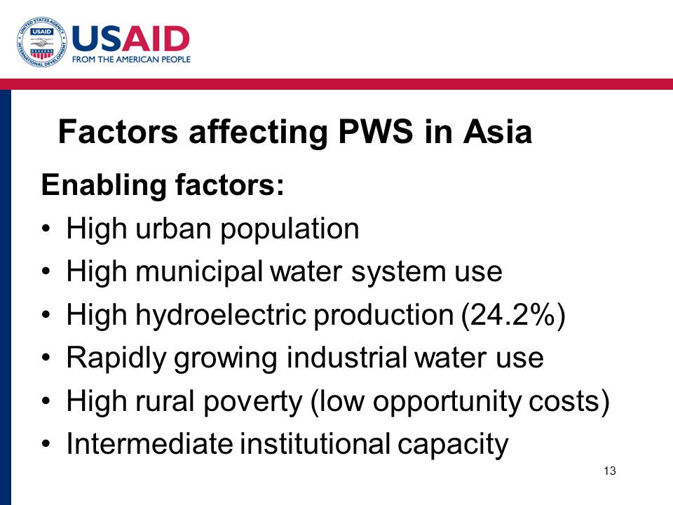 Factors affecting PWS in Asia Enabling factors: High urban population High municipal water system use High hydroelectric production (24.2%) Rapidly growing industrial water use High rural poverty (low opportunity costs) Intermediate institutional capacity 13