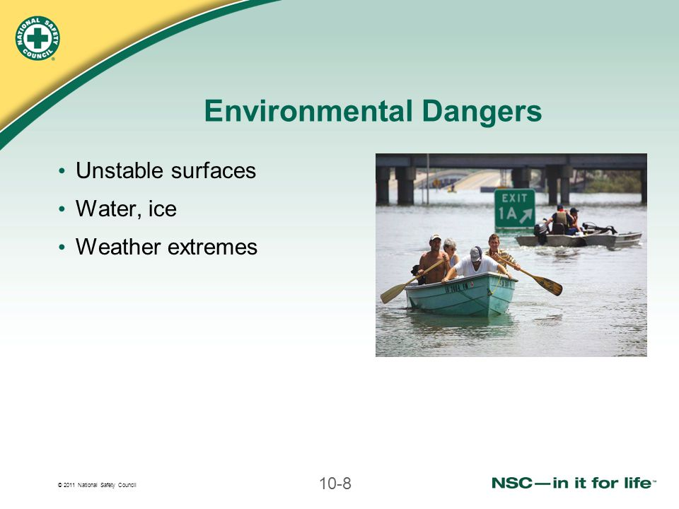 © 2011 National Safety Council 10-9 Hazards Within Structures Low-oxygen areas Toxic substances, fumes Risk of collapse Risk of fire or explosion
