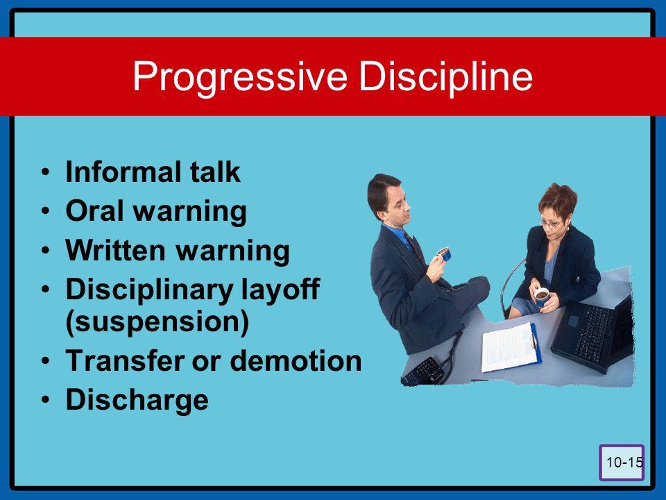 10-15 Progressive Discipline Informal talk Oral warning Written warning Disciplinary layoff (suspension) Transfer or demotion Discharge