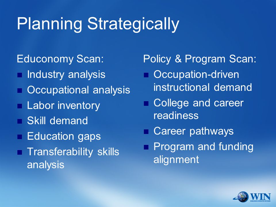 Planning Strategically Educonomy Scan: Industry analysis Occupational analysis Labor inventory Skill demand Education gaps Transferability skills analysis Policy & Program Scan: Occupation-driven instructional demand College and career readiness Career pathways Program and funding alignment