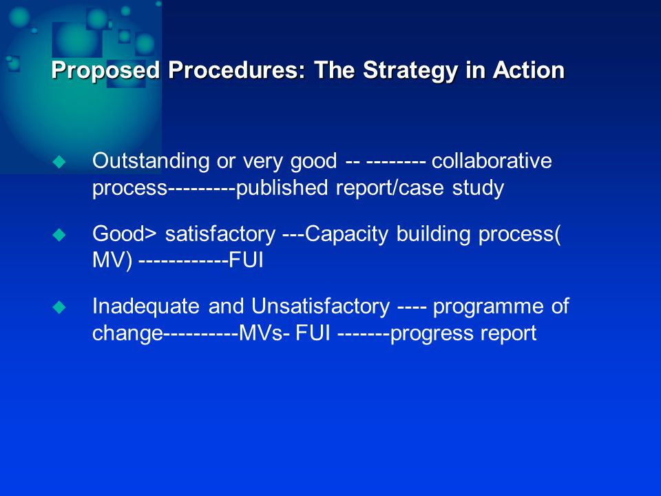 Proposed Procedures: The Strategy in Action  Outstanding or very good -- -------- collaborative process---------published report/case study  Good> satisfactory ---Capacity building process( MV) ------------FUI  Inadequate and Unsatisfactory ---- programme of change----------MVs- FUI -------progress report