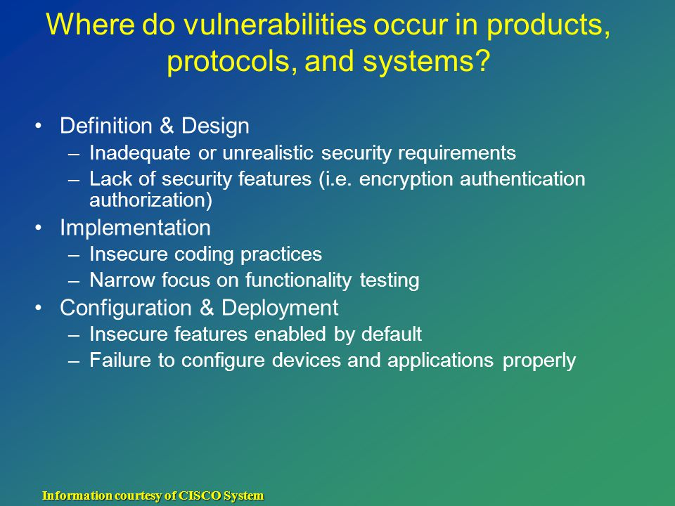 Where do vulnerabilities occur in products, protocols, and systems.