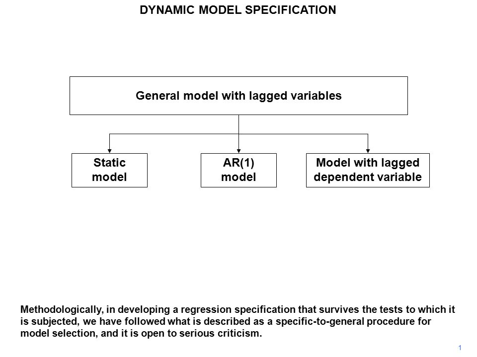 1 General model with lagged variables Static model AR(1) model Model with lagged dependent variable Methodologically, in developing a regression specification that survives the tests to which it is subjected, we have followed what is described as a specific-to-general procedure for model selection, and it is open to serious criticism.