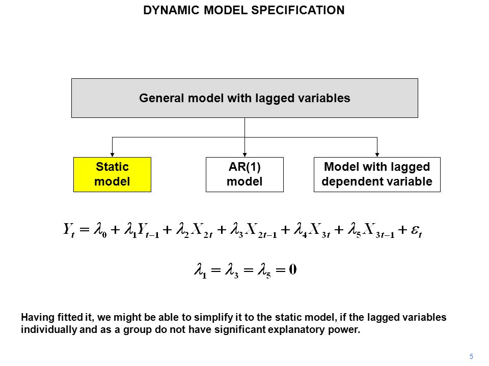 5 General model with lagged variables Static model AR(1) model Model with lagged dependent variable Having fitted it, we might be able to simplify it to the static model, if the lagged variables individually and as a group do not have significant explanatory power.