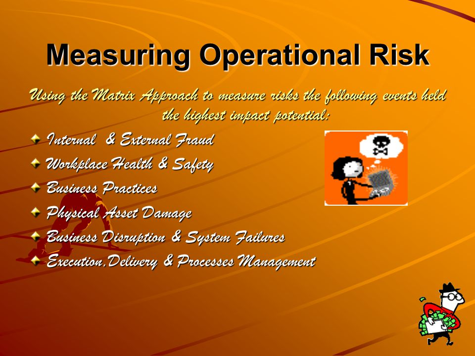 Operational Risk The risk of loss resulting from inadequate or failed internal processes, people and systems or from external events.