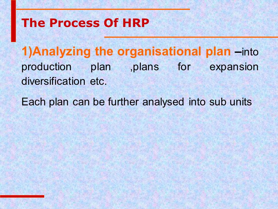 The Process Of HRP 1)Analyzing the organisational plan – into production plan,plans for expansion diversification etc. Each plan can be further analys