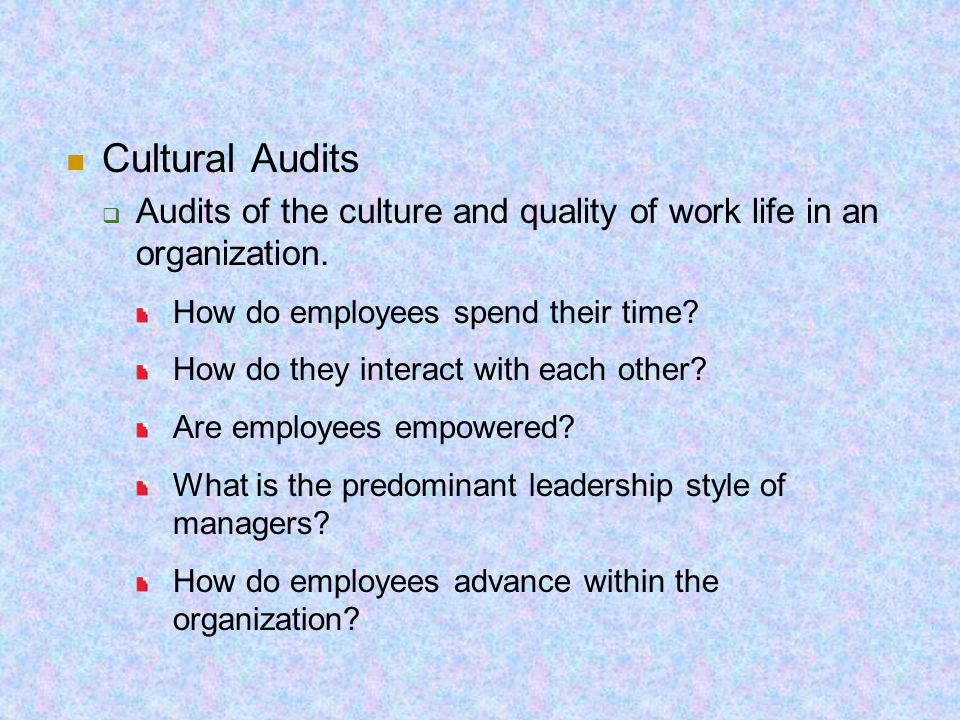 Cultural Audits  Audits of the culture and quality of work life in an organization. How do employees spend their time? How do they interact with each
