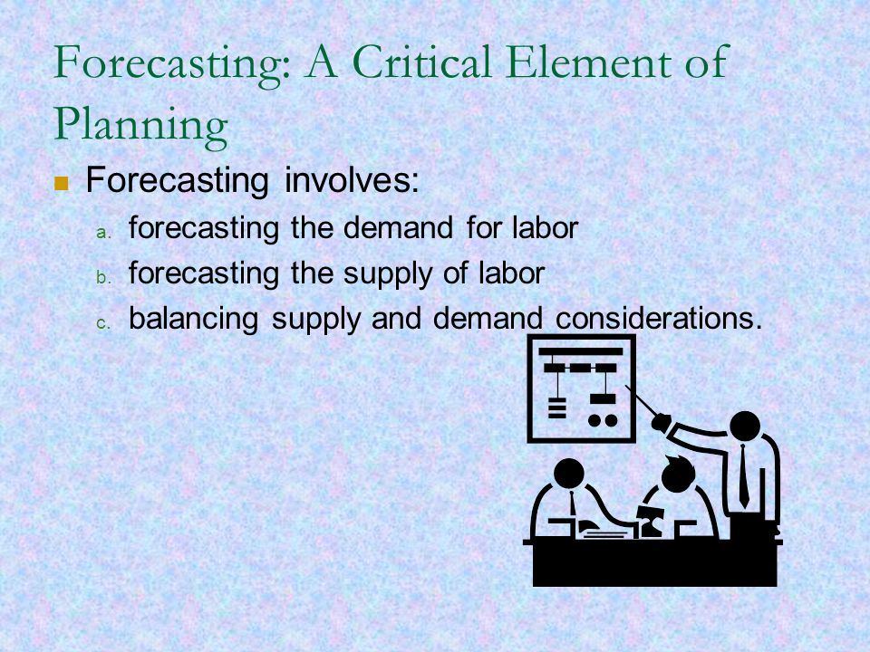 Forecasting: A Critical Element of Planning Forecasting involves: a. forecasting the demand for labor b. forecasting the supply of labor c. balancing