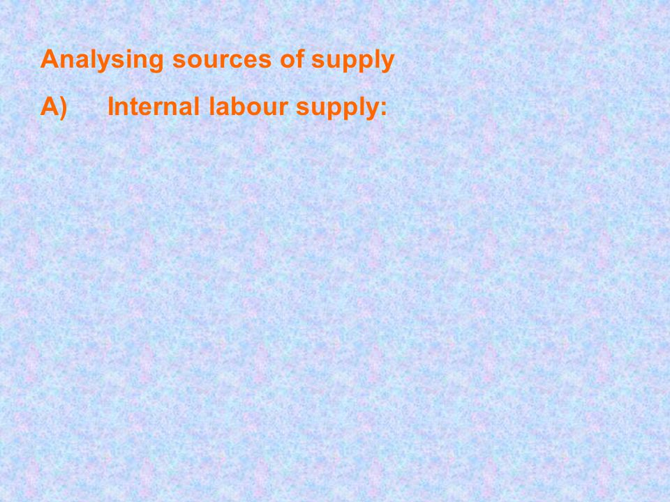 Analysing sources of supply A)Internal labour supply: