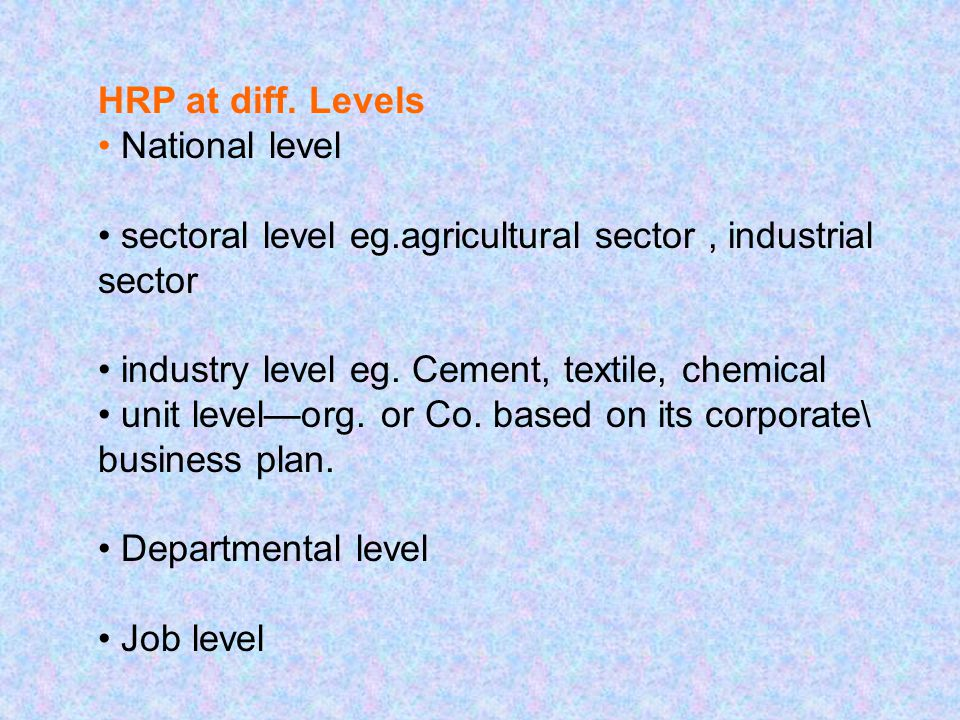 HRP at diff. Levels National level sectoral level eg.agricultural sector, industrial sector industry level eg. Cement, textile, chemical unit level—or