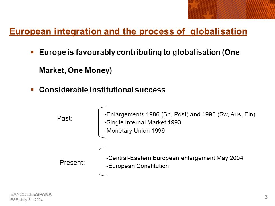 IESE, July 8th 2004 24 To do list: European level  Complete Single Market and make it more dynamic  Boost investment in knowledge (R+D+i+e)  Redesign-modernise cohesion policies  Improve macroeconomic policy framework (more symmetry in fiscal and monetary policies)  Improve methods of economic governance  Refocus the EU budget