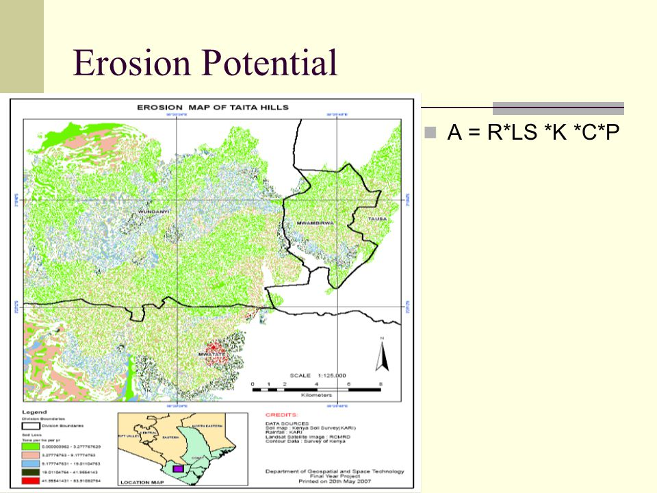 Erosion Potential A = R*LS *K *C*P
