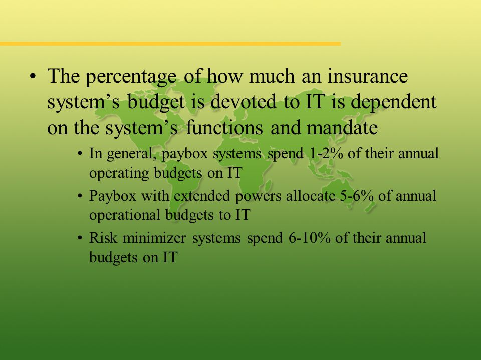 The percentage of how much an insurance system's budget is devoted to IT is dependent on the system's functions and mandate In general, paybox systems spend 1-2% of their annual operating budgets on IT Paybox with extended powers allocate 5-6% of annual operational budgets to IT Risk minimizer systems spend 6-10% of their annual budgets on IT
