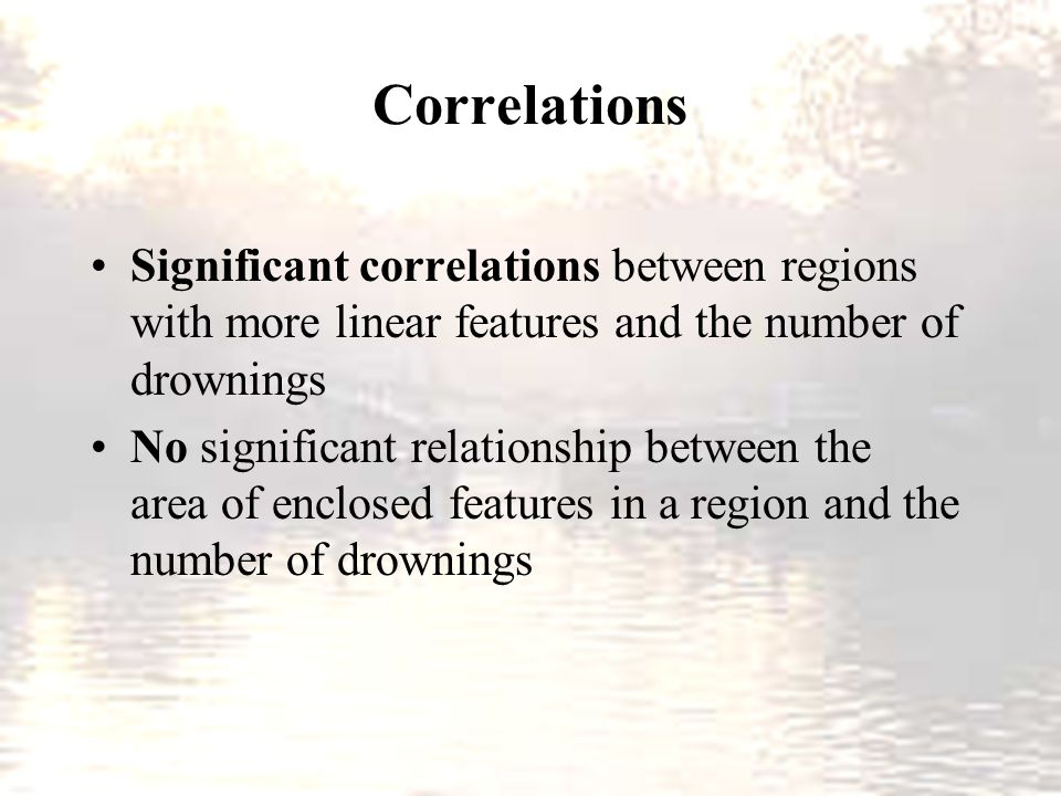 Correlations Significant correlations between regions with more linear features and the number of drownings No significant relationship between the ar