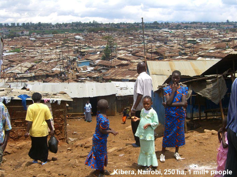 Kibera, Nairobi, 250 ha, 1 mill+ people
