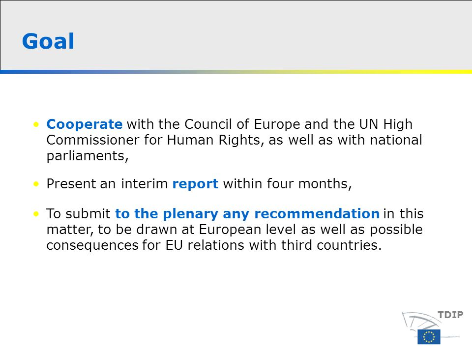 To submit to the plenary any recommendation in this matter, to be drawn at European level as well as possible consequences for EU relations with third countries.