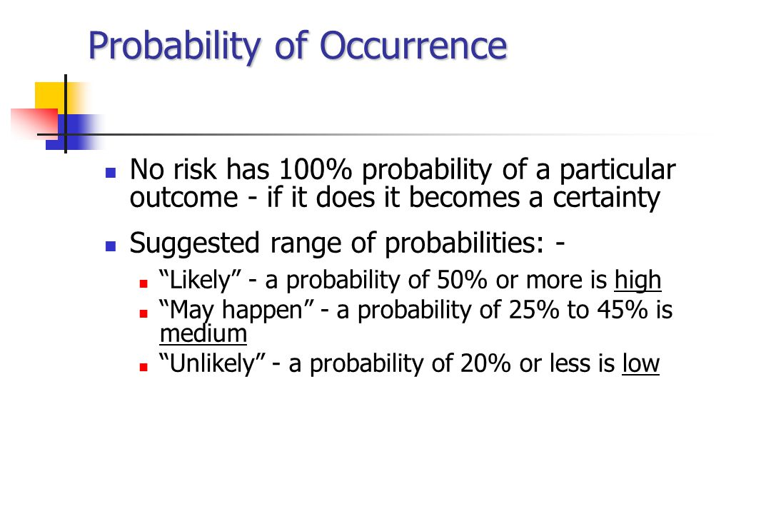 Probability of Occurrence No risk has 100% probability of a particular outcome - if it does it becomes a certainty Suggested range of probabilities: - Likely - a probability of 50% or more is high May happen - a probability of 25% to 45% is medium Unlikely - a probability of 20% or less is low