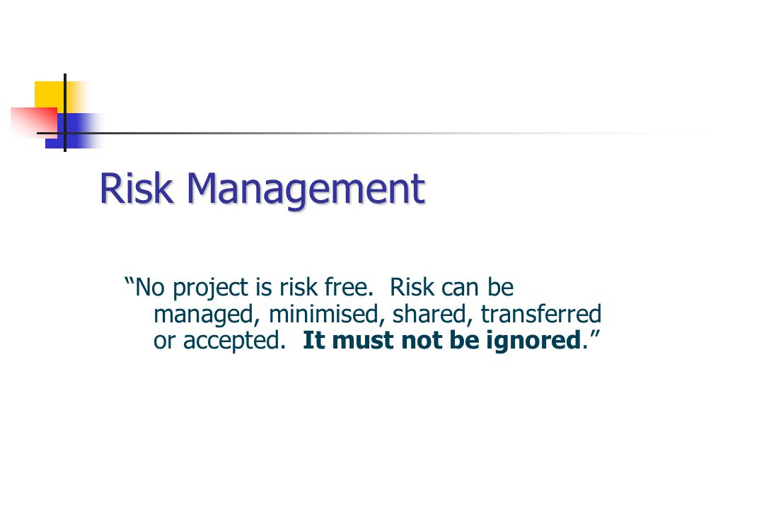 Risk Management No project is risk free.