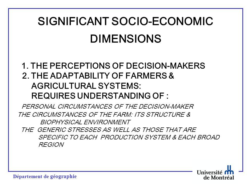 Département de géographie SIGNIFICANT SOCIO-ECONOMIC DIMENSIONS 1.