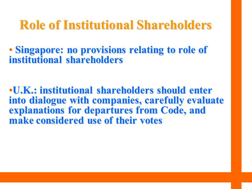 Singapore: no provisions relating to role of institutional shareholders Singapore: no provisions relating to role of institutional shareholders U.K.: