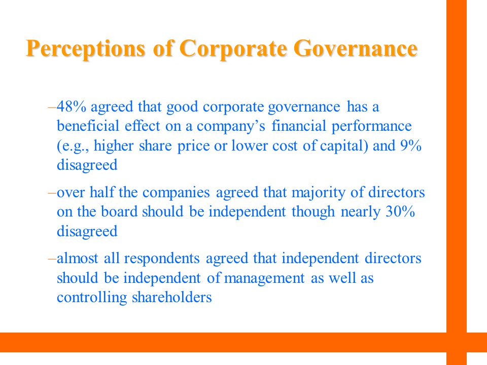 Perceptions of Corporate Governance –48% agreed that good corporate governance has a beneficial effect on a company's financial performance (e.g., hig