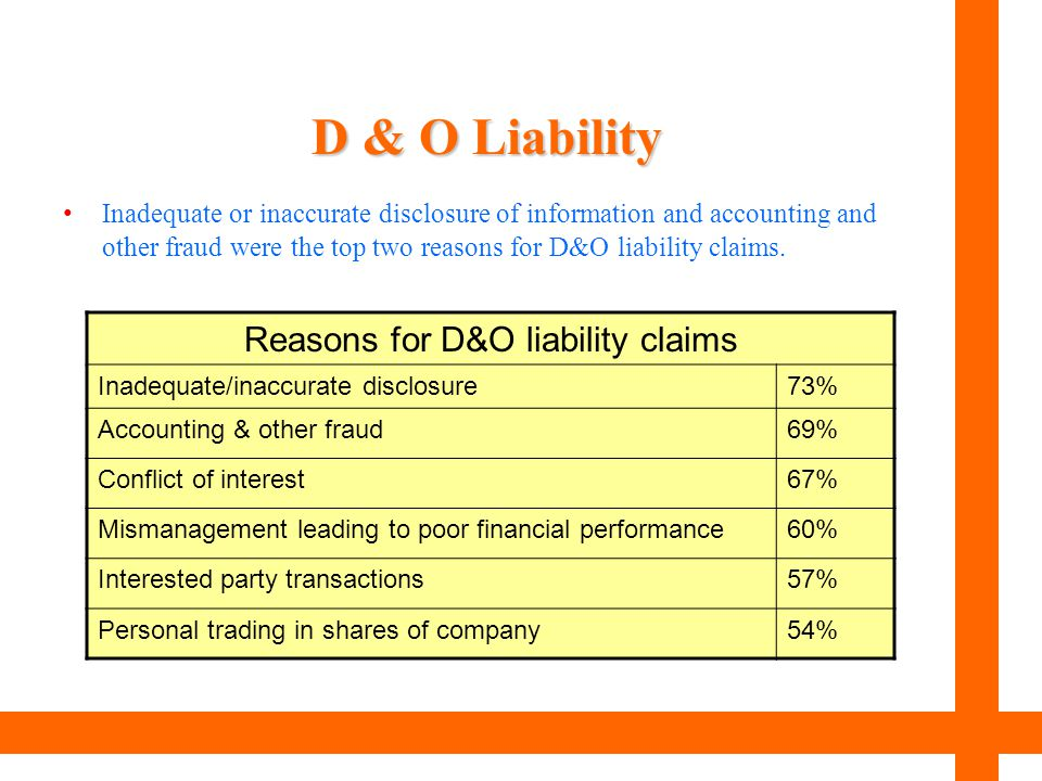 D & O Liability Inadequate or inaccurate disclosure of information and accounting and other fraud were the top two reasons for D&O liability claims. R