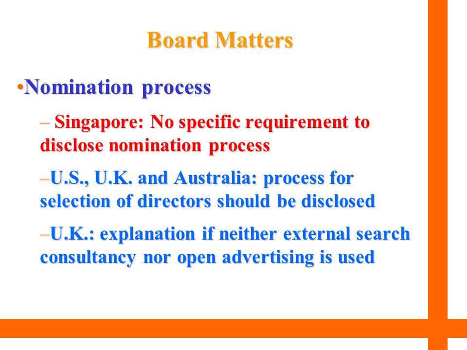 Nomination processNomination process – Singapore: No specific requirement to disclose nomination process –U.S., U.K. and Australia: process for select