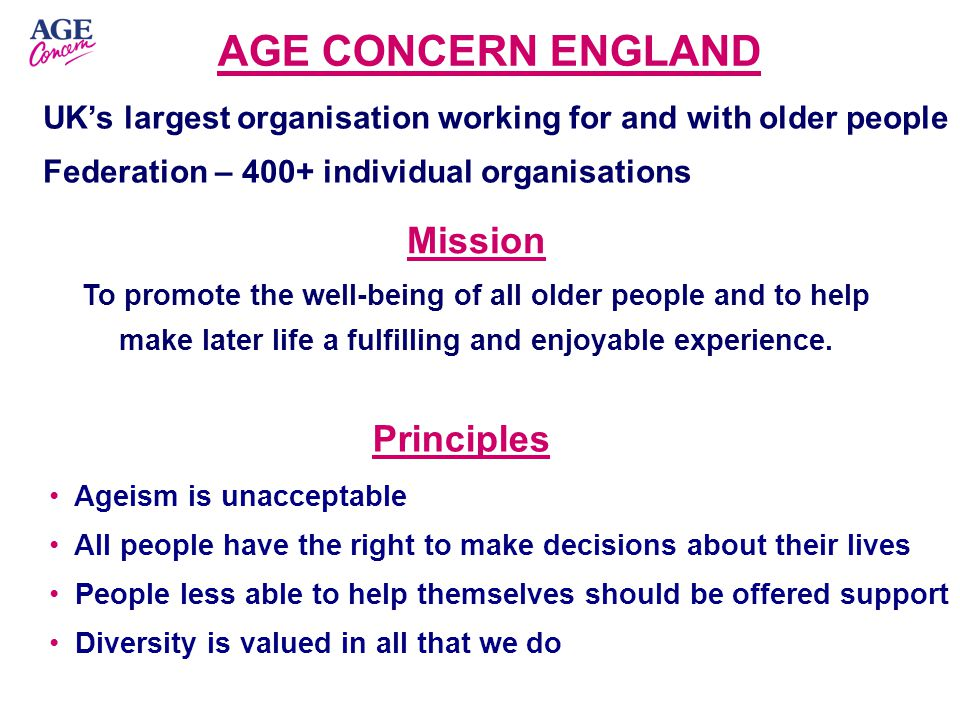 AGE CONCERN ENGLAND UK's largest organisation working for and with older people Federation – 400+ individual organisations Mission To promote the well-being of all older people and to help make later life a fulfilling and enjoyable experience.