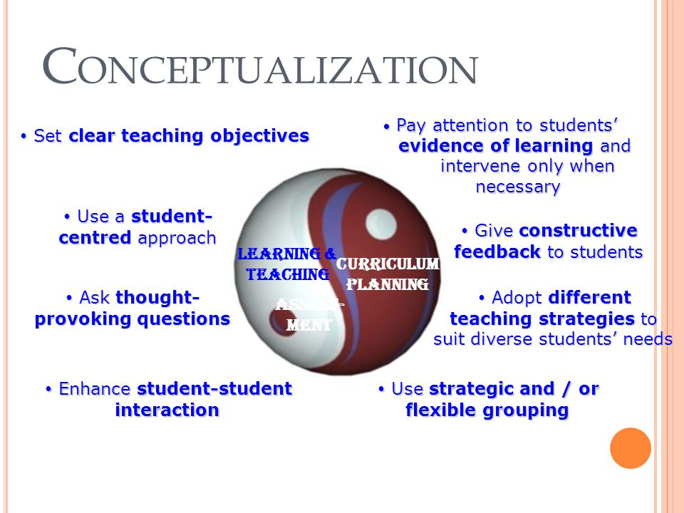 C ONCEPTUALIZATION Curriculum Planning Learning & teaching Assess- ment Curriculum Planning Learning & teaching Assess- ment Pay attention to students