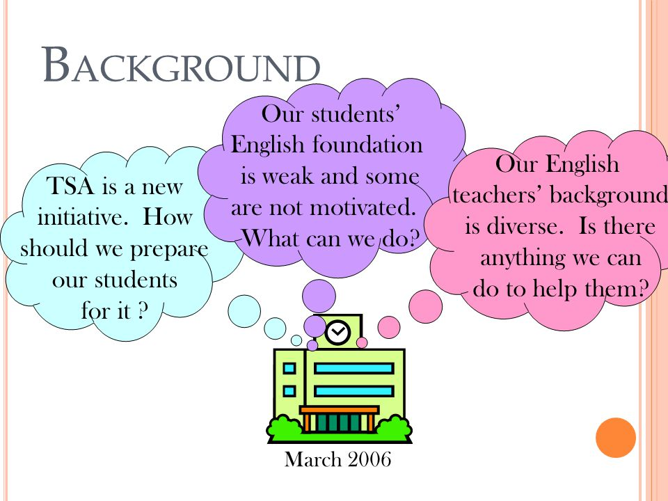 B ACKGROUND TSA is a new initiative. How should we prepare our students for it ? March 2006 Our students' English foundation is weak and some are not