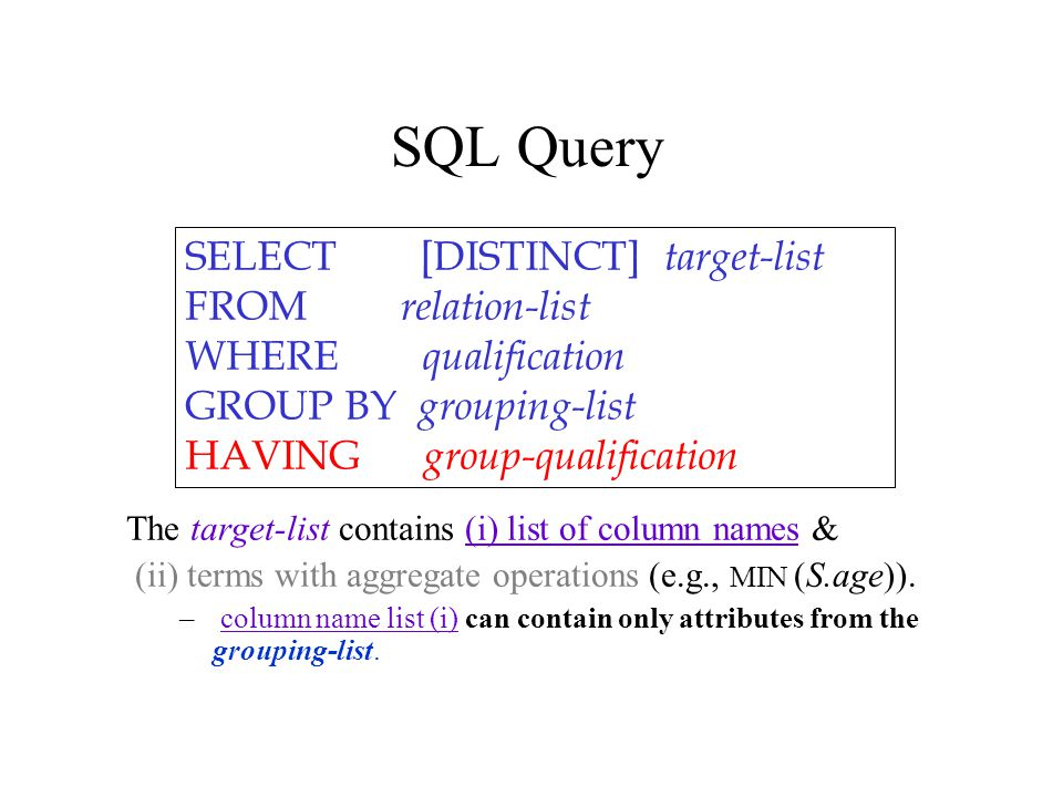 SELECT [DISTINCT] target-list FROM relation-list WHERE qualification GROUP BY grouping-list HAVING group-qualification The target-list contains (i) list of column names & (ii) terms with aggregate operations (e.g., MIN (S.age)).