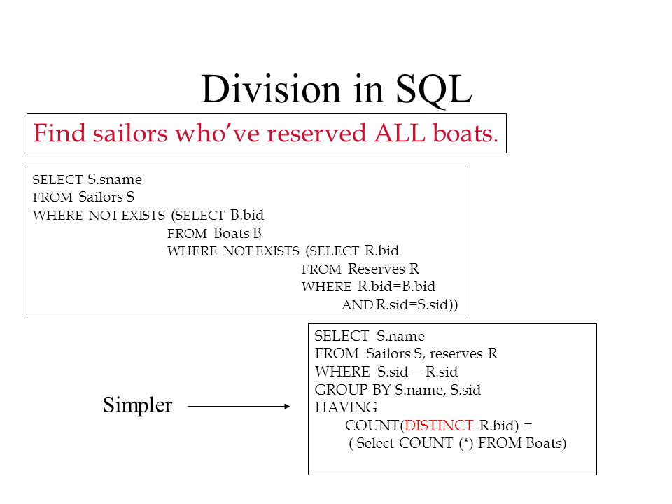 Division in SQL SELECT S.sname FROM Sailors S WHERE NOT EXISTS ( SELECT B.bid FROM Boats B WHERE NOT EXISTS ( SELECT R.bid FROM Reserves R WHERE R.bid