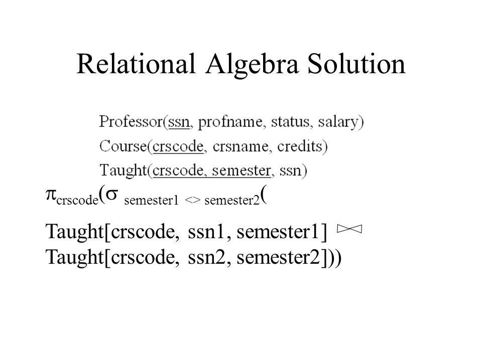 Relational Algebra Solution  crscode (  semester1 <> semester2 ( Taught[crscode, ssn1, semester1]  Taught[crscode, ssn2, semester2]))