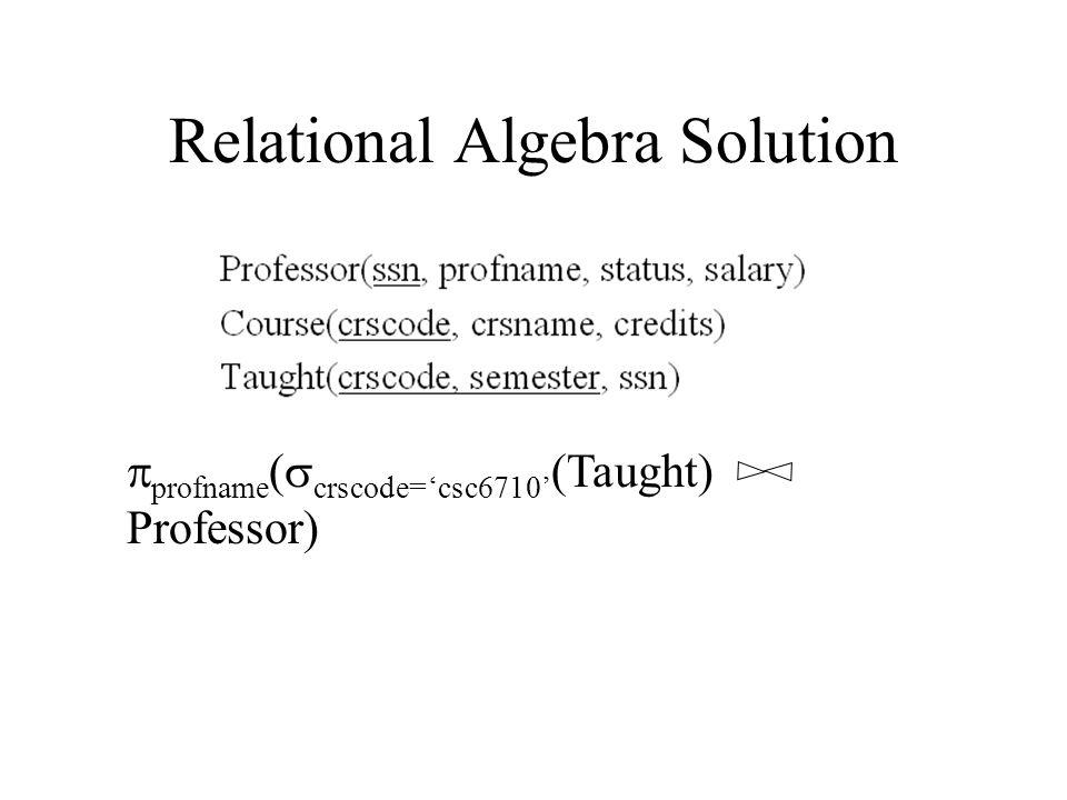 Relational Algebra Solution  profname (  crscode='csc6710' (Taught) Professor)