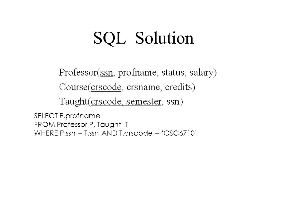 SQL Solution SELECT P.profname FROM Professor P, Taught T WHERE P.ssn = T.ssn AND T.crscode = 'CSC6710'